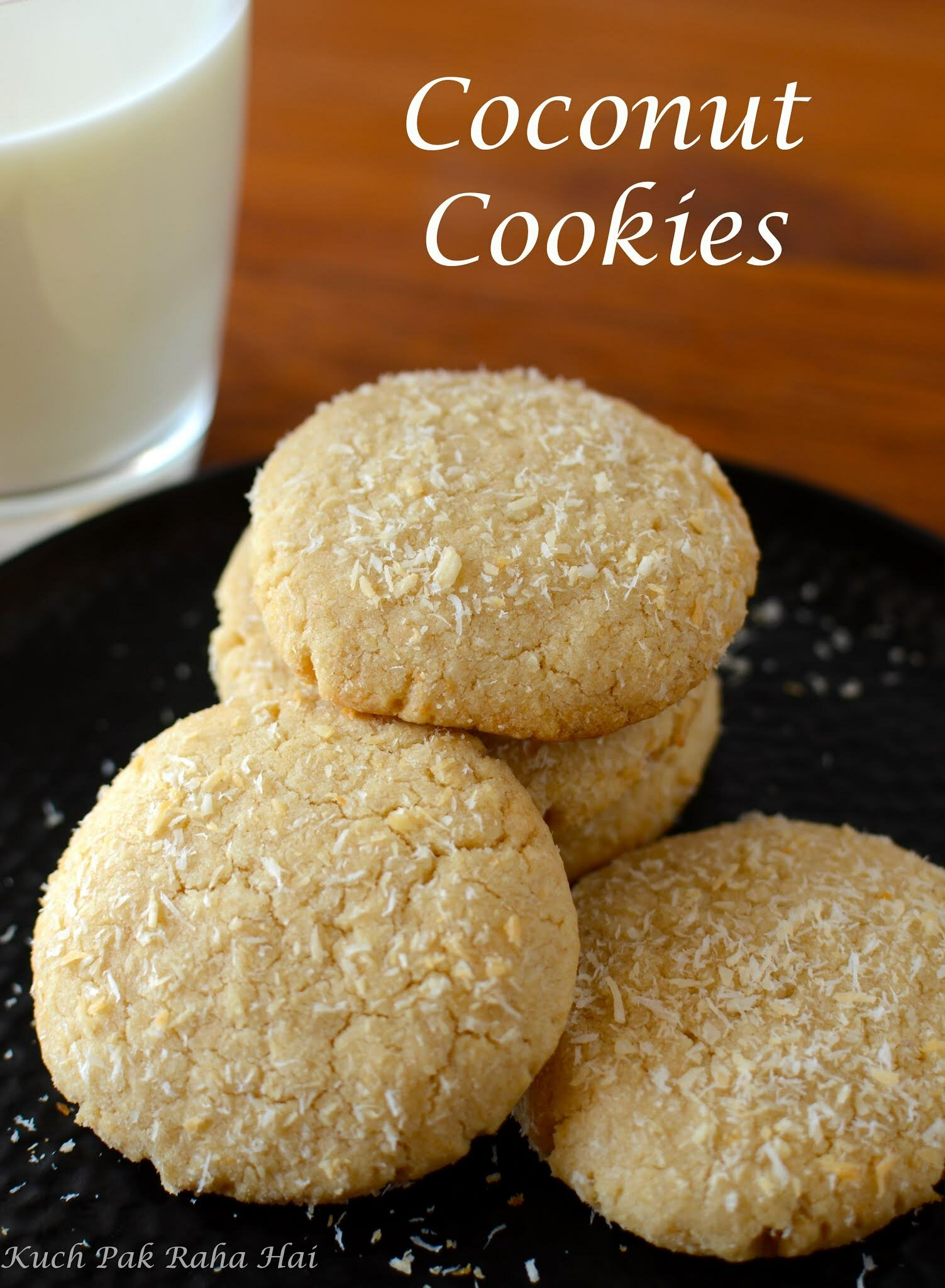 Eggless Coconut Cookies recipe with whole wheat flour, Healthy Cookies Recipe