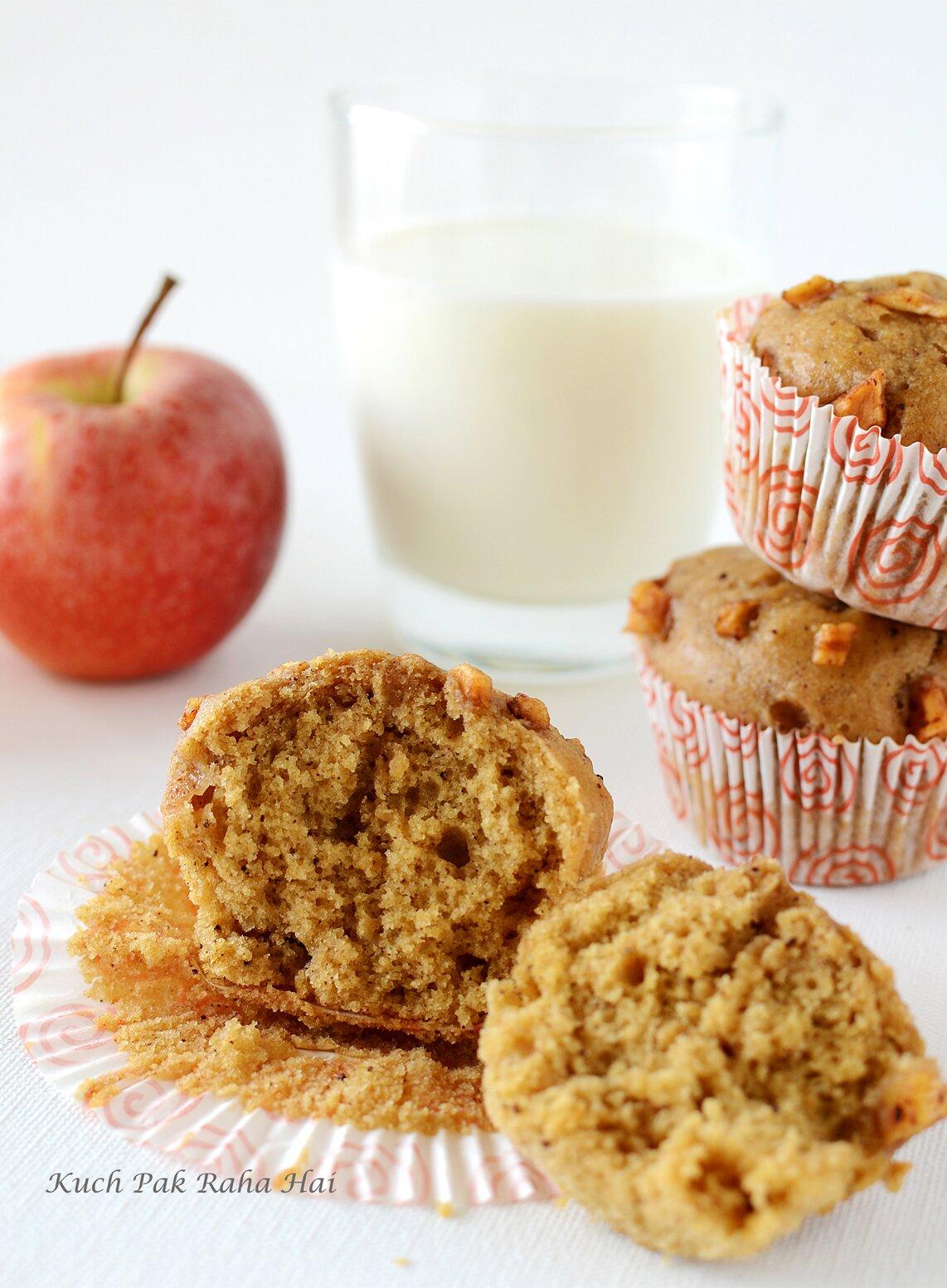Eggless Apple Muffins Whole Wheat & Vegan