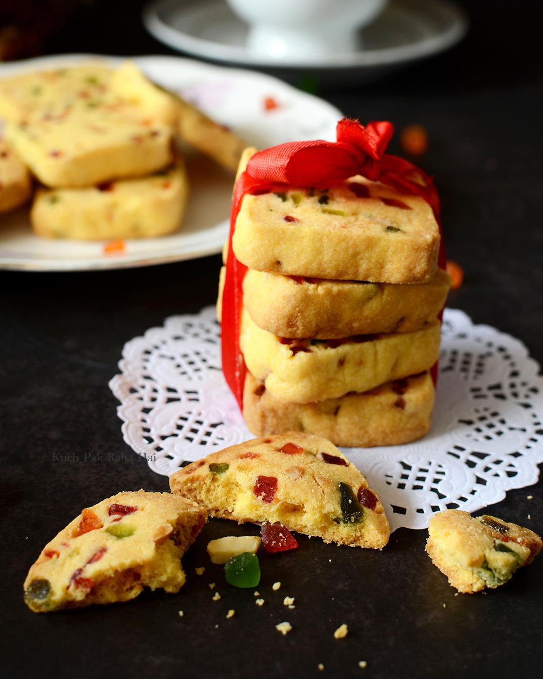 Eggless Tutti Frutti Biscuits Recipe