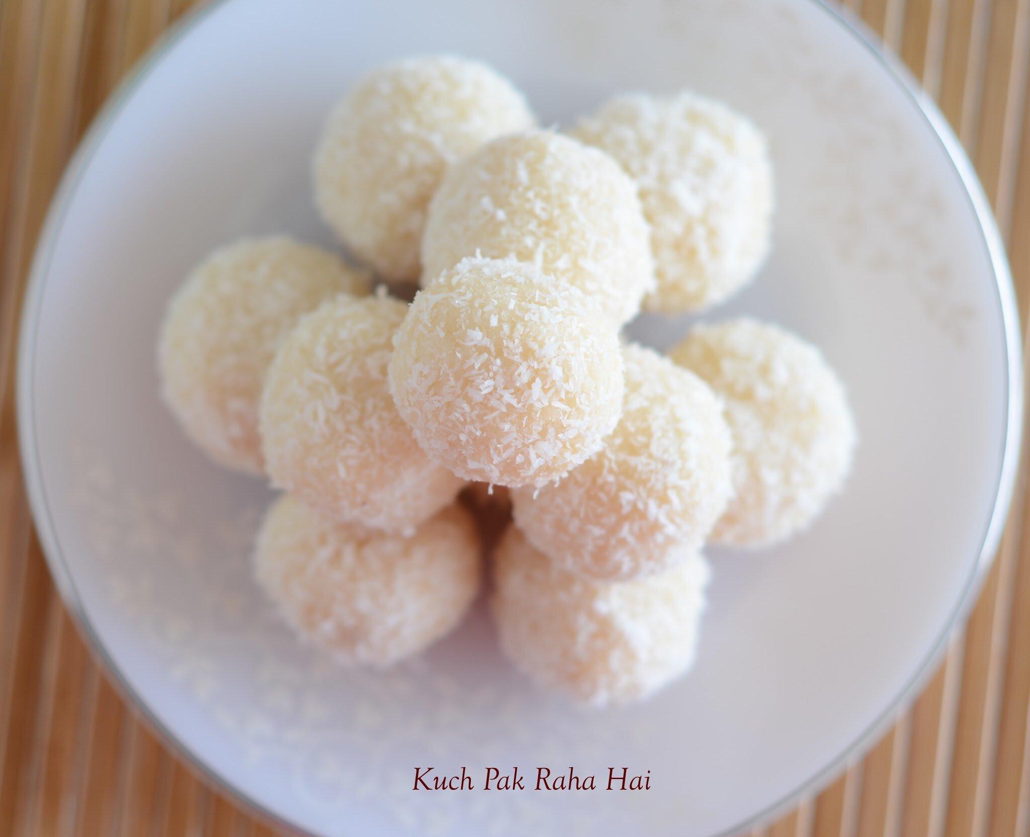 Instant Coconut Ladoos Recipe with desiccated coconut & condensed milk
