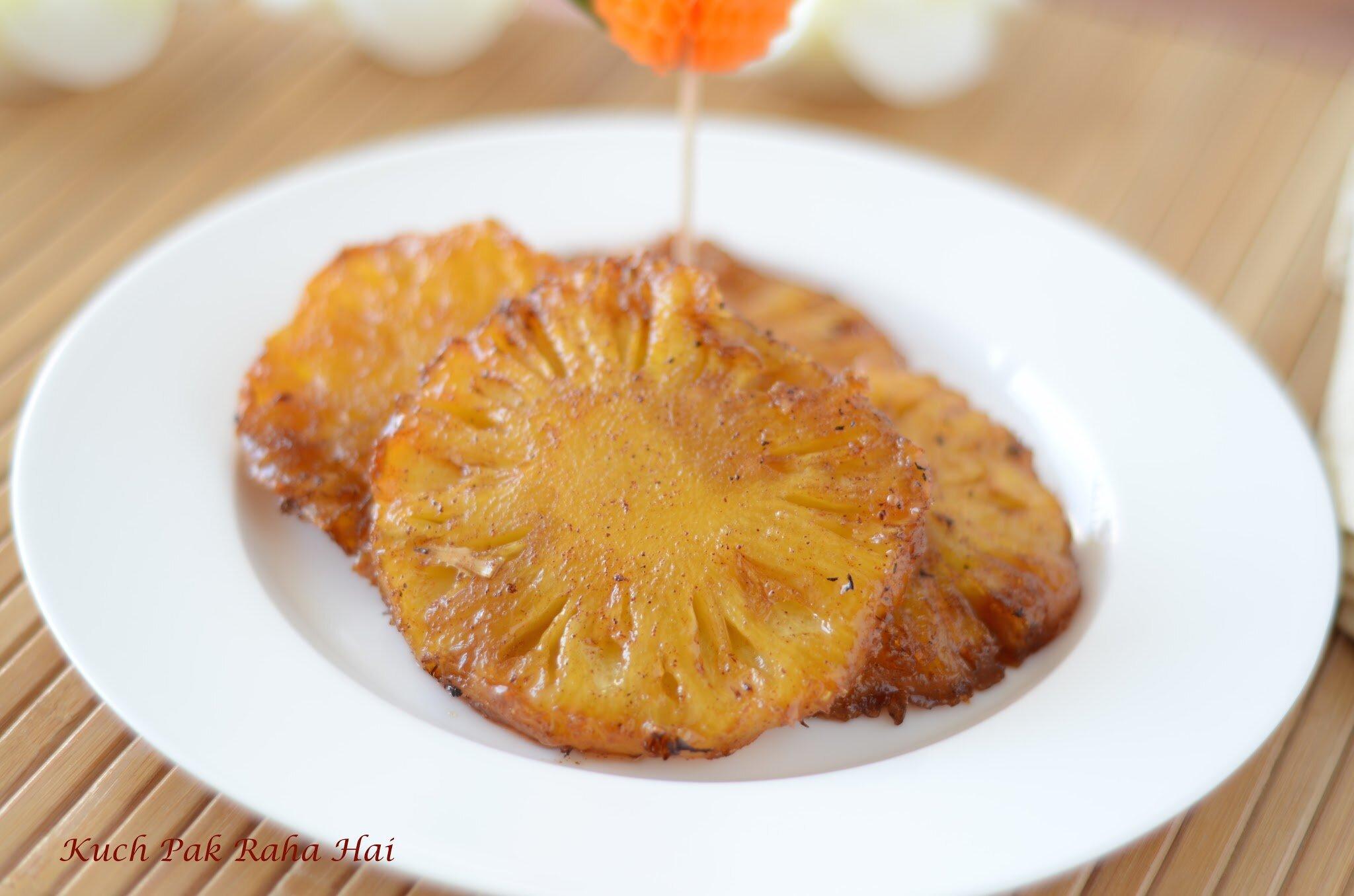Grilled Pineapple Cinnamon made in Air Fryer Vegetarian recipe