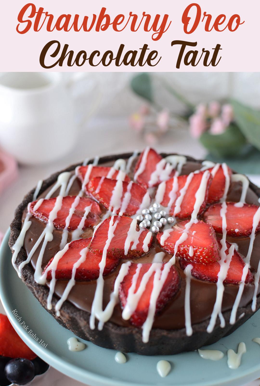 No Bake strawberry oreo chocolate tart dessert egg free valentines day special