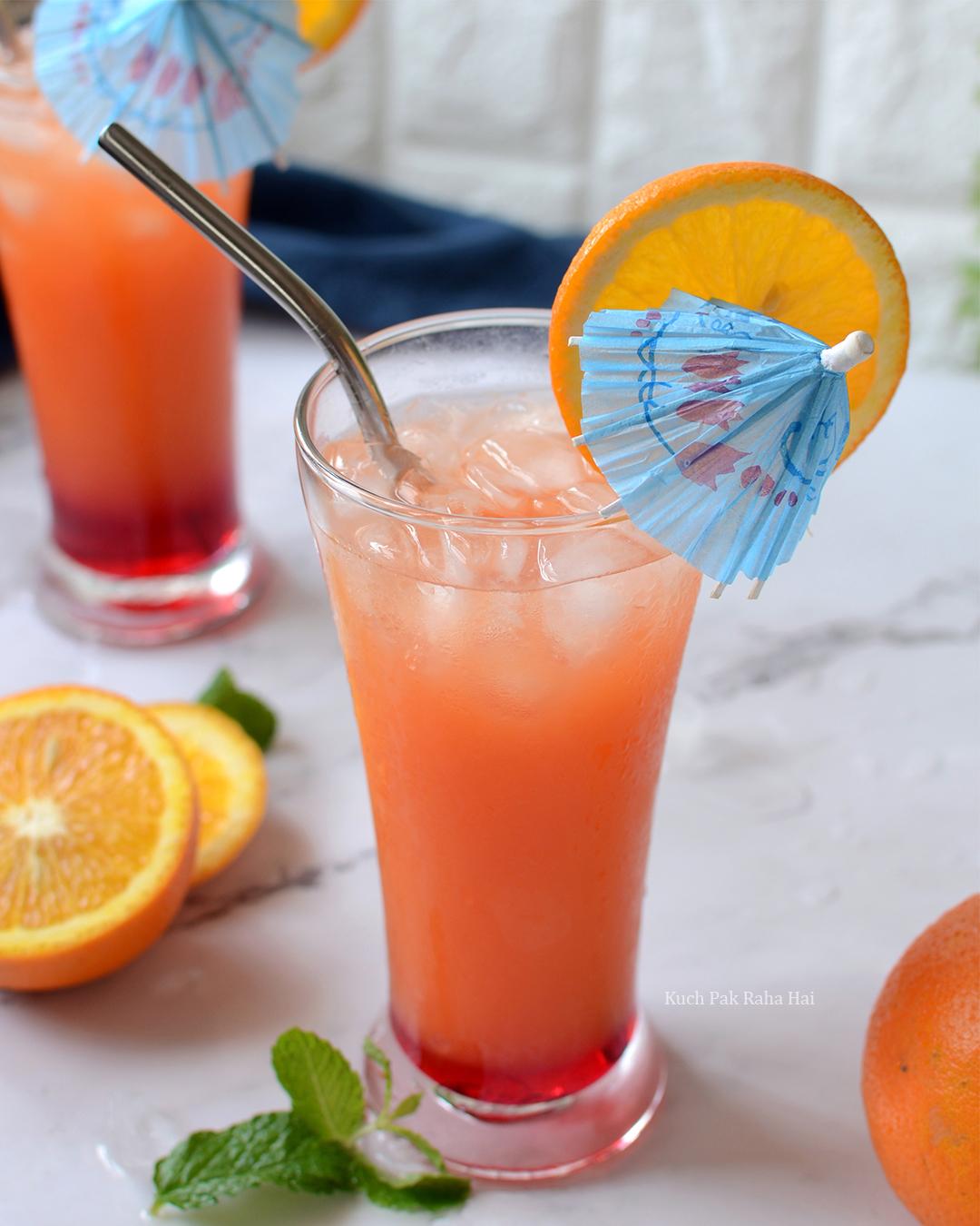 Rose Sunrise Summer Cooler Mocktail Recipe without alcohol