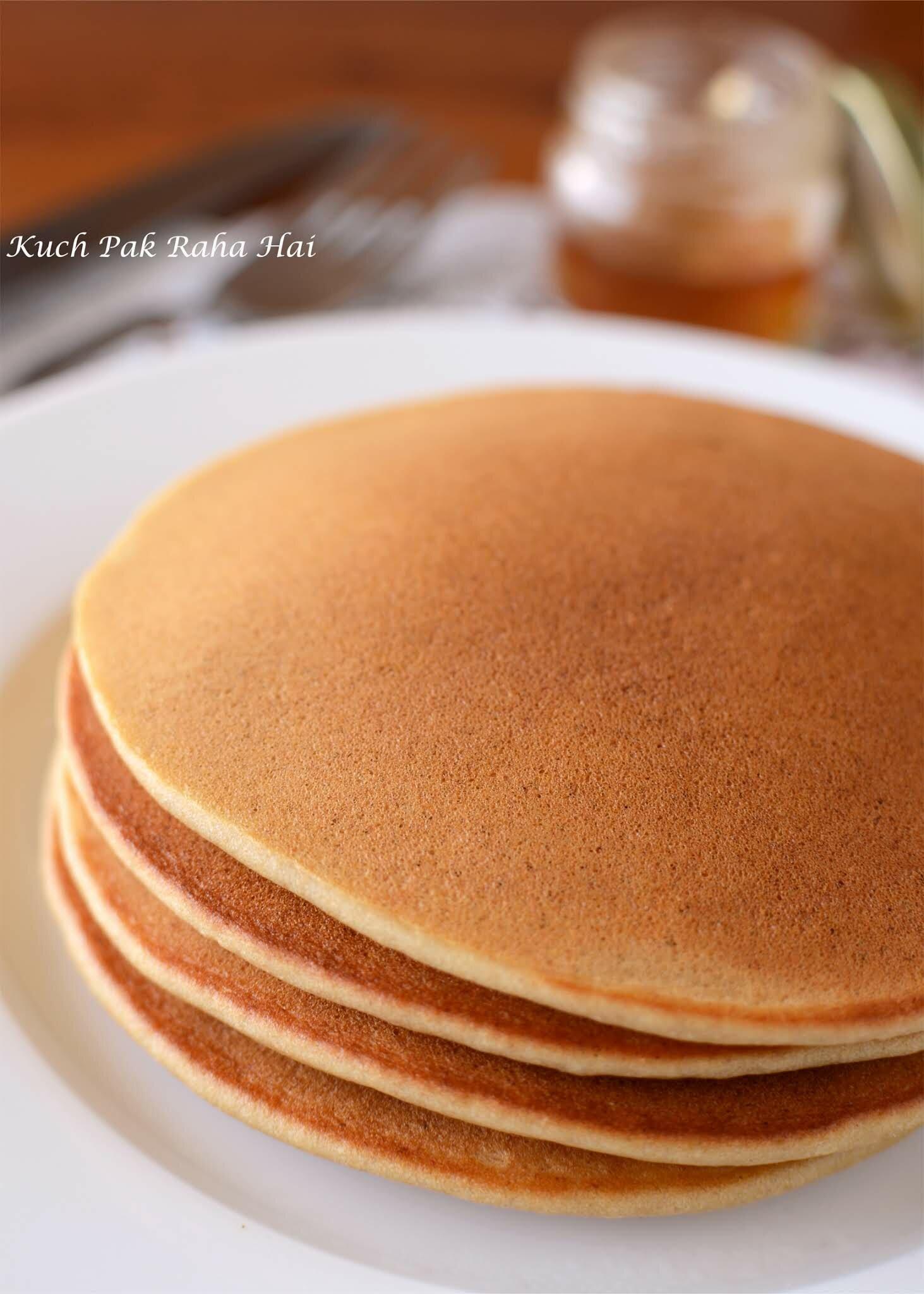 Eggless Banana Pancakes recipe made using whole wheat flour