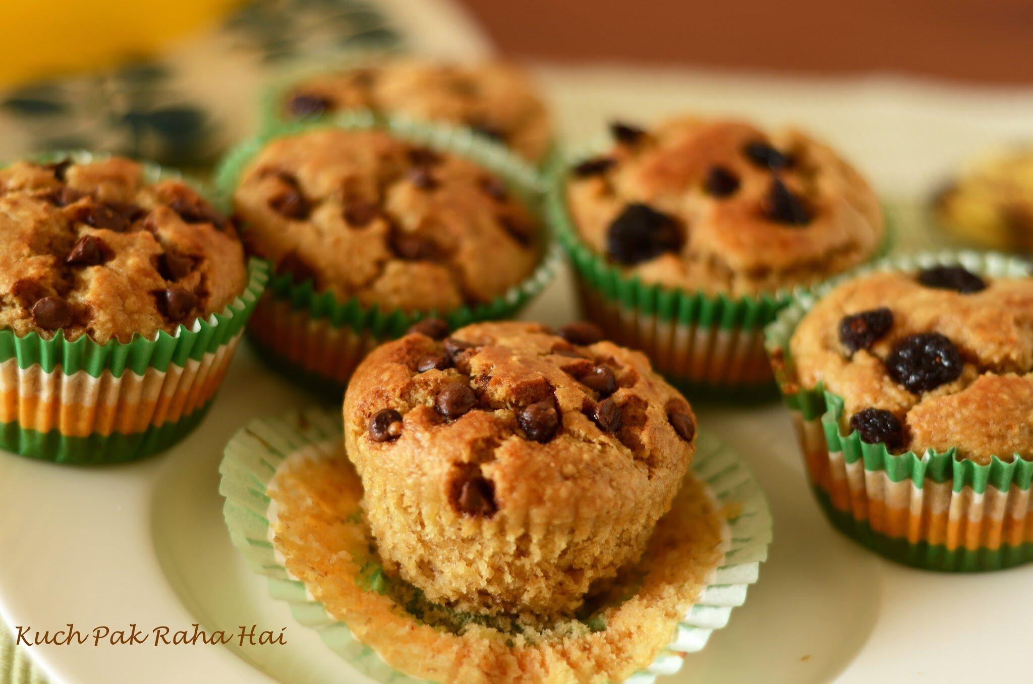 Eggless Banana Oats Muffins Recipe