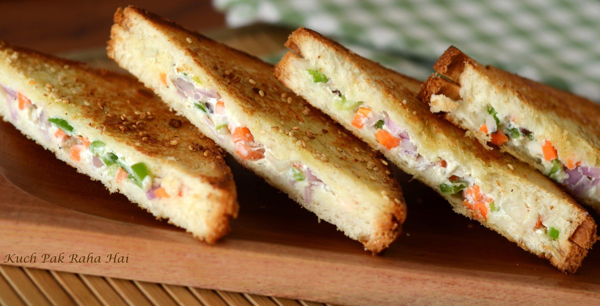 Curd Sandwich recipe Yoghurt Sandwich made with hung curd