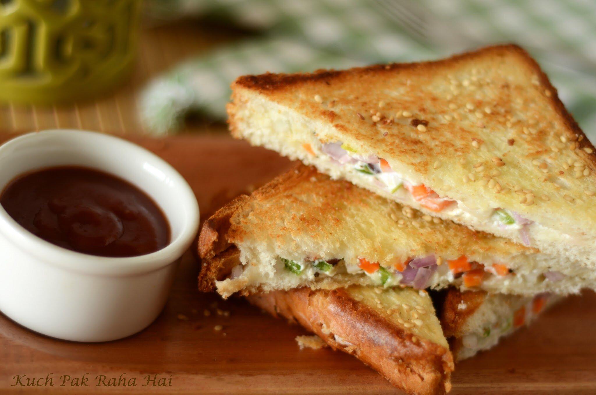 Curd Sandwich recipe Yoghurt Sandwich made with hung curd breakfast kids lunch box sandwich recipe