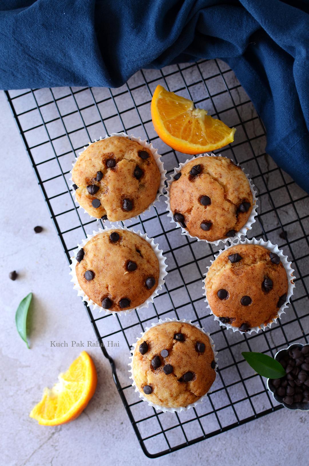 Eggless Orange chocochip Muffin recipe