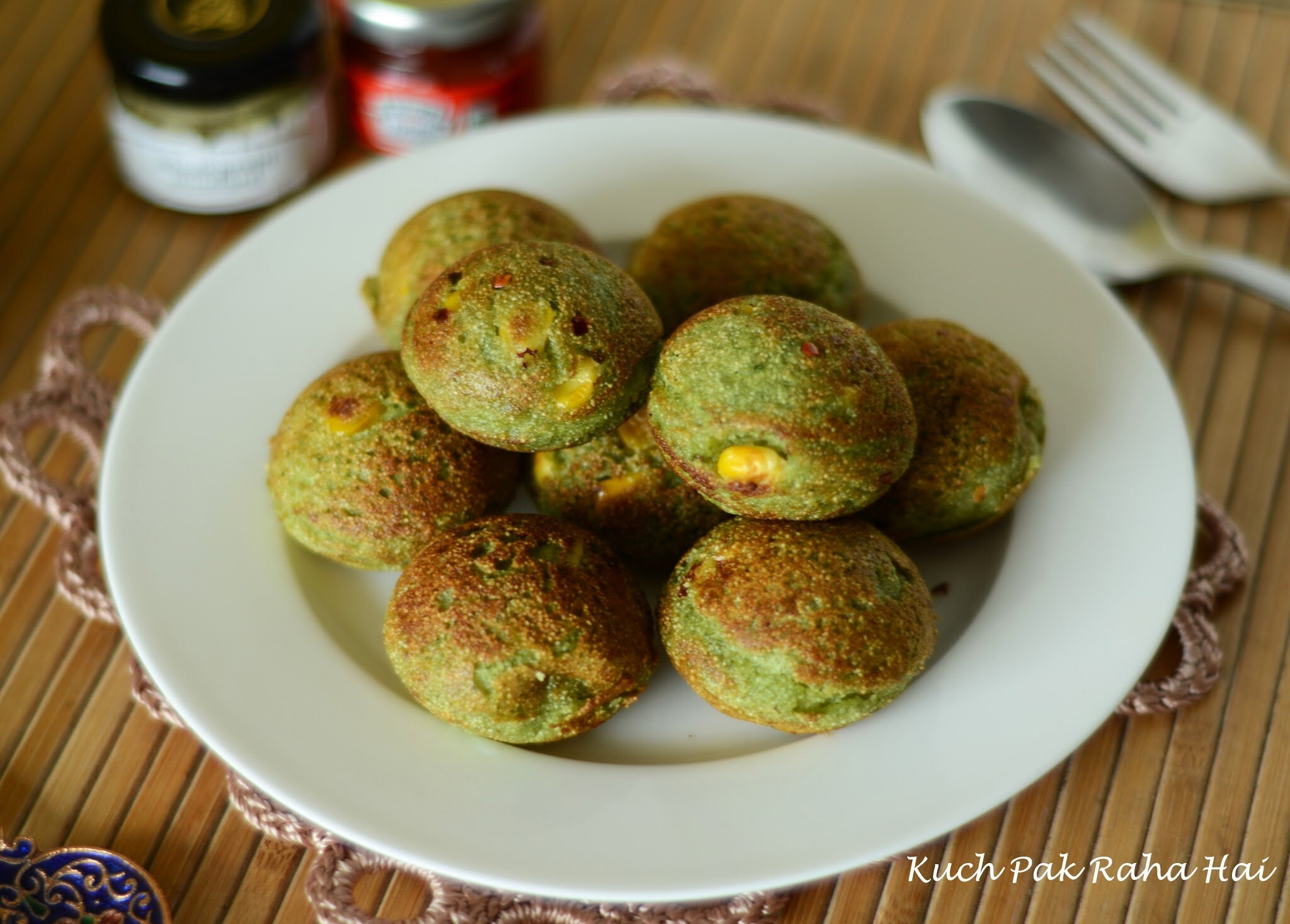 Spinach Corn Appe with Paneer stuffing