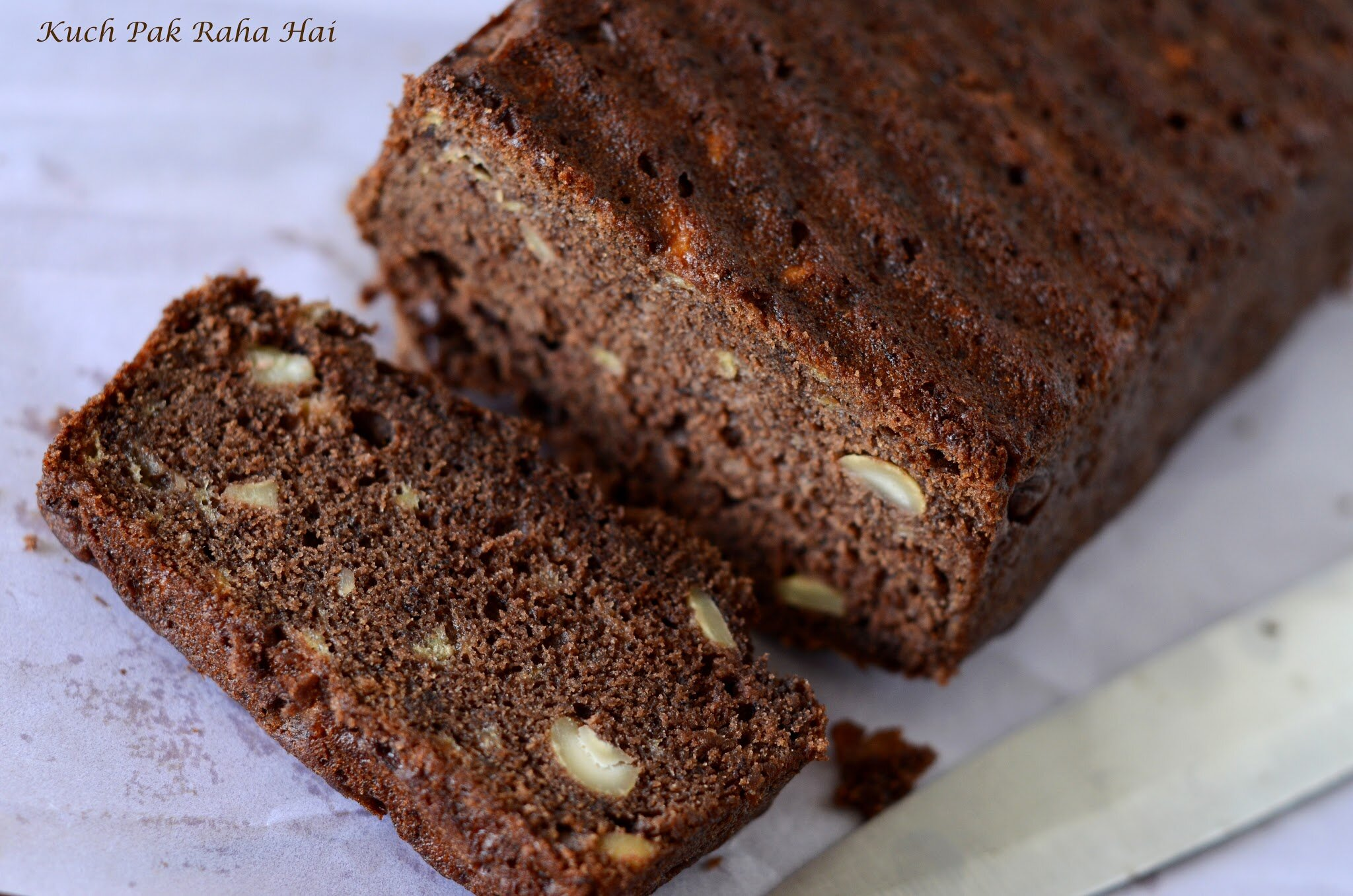 Vegan eggless healthy banana bread recipe with whole wheat flour