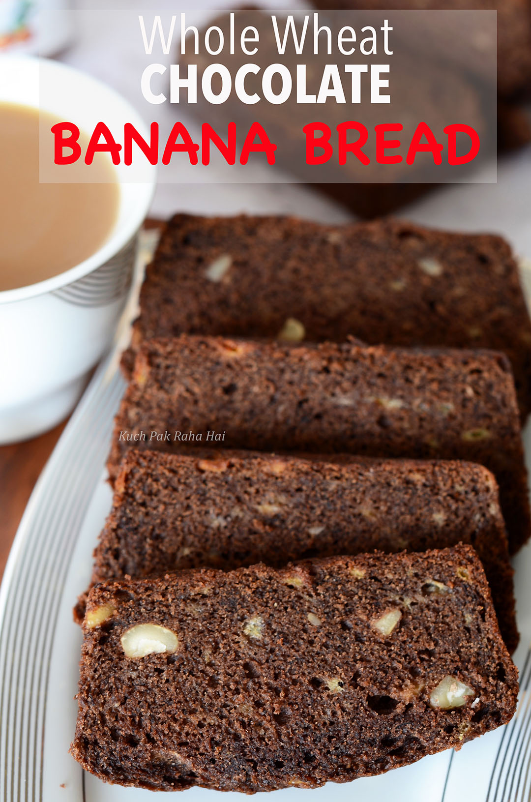 Eggless Banana Bread Vegan Whole Wheat in Chocolate Flavour