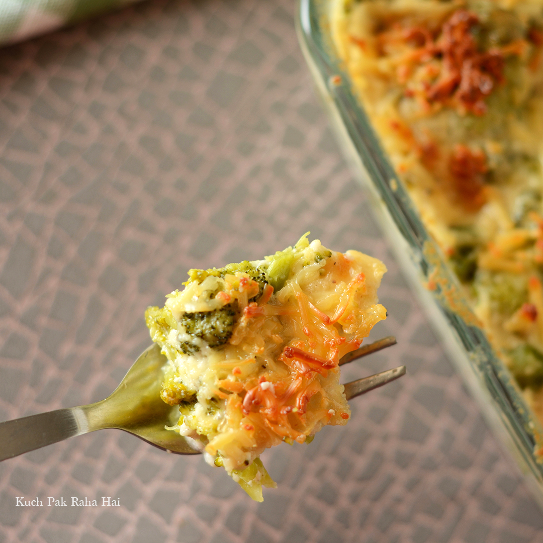 Vegetarian Cheese Broccoli Casserole Baked Broccoli in white sauce