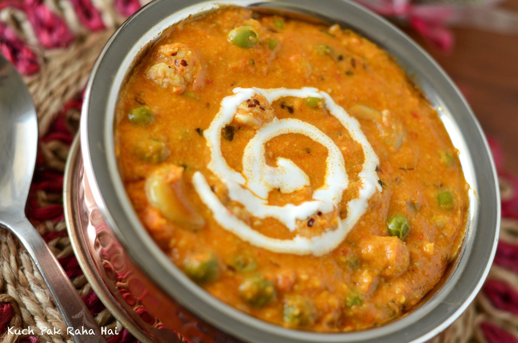 Makhana Kaju Matar Curry Recipe (Foxnuts Peas curry)