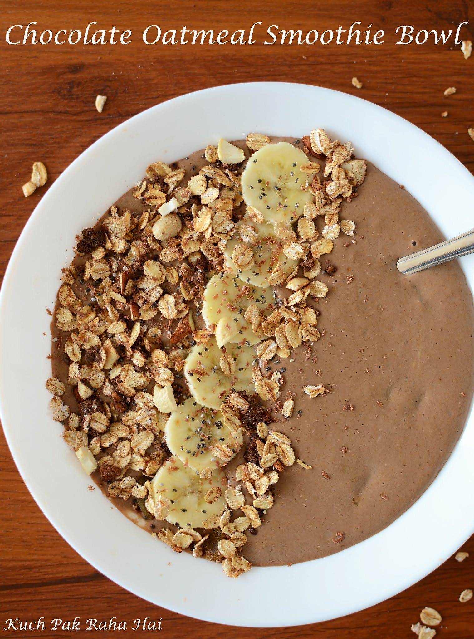 Vegan Chocolate Banana Oatmeal Smoothie Bowl