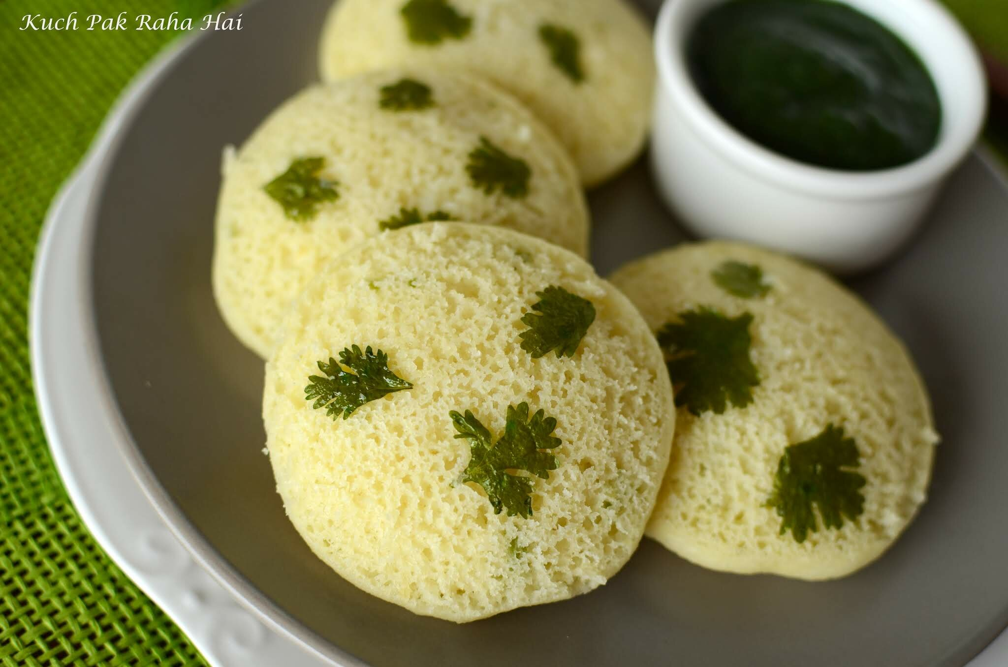 Instant Moong Dal Idli recipe made without rice. No fermentation required.