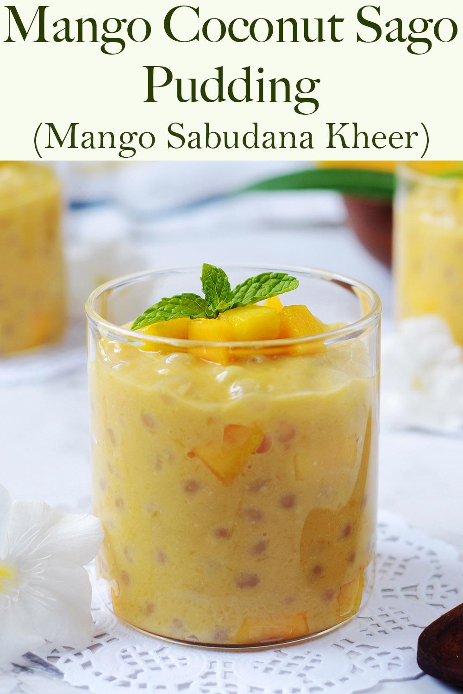 Mango Sago Pudding with coconut Sabudana Kheer or Tapioca Pudding Vegan & Gluten Feee dessert recipe