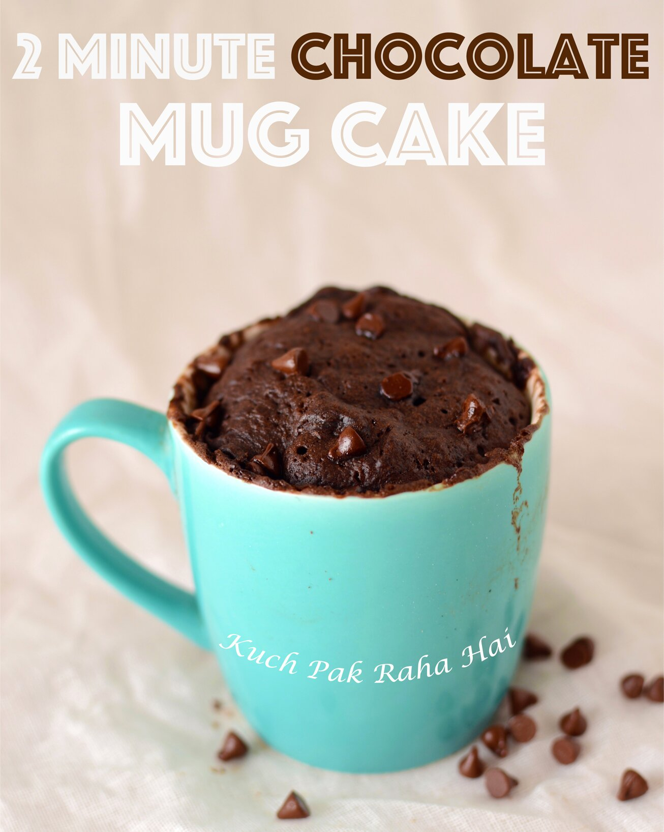 Eggless Chocolate Mug Cake in microwave in just 2 minutes