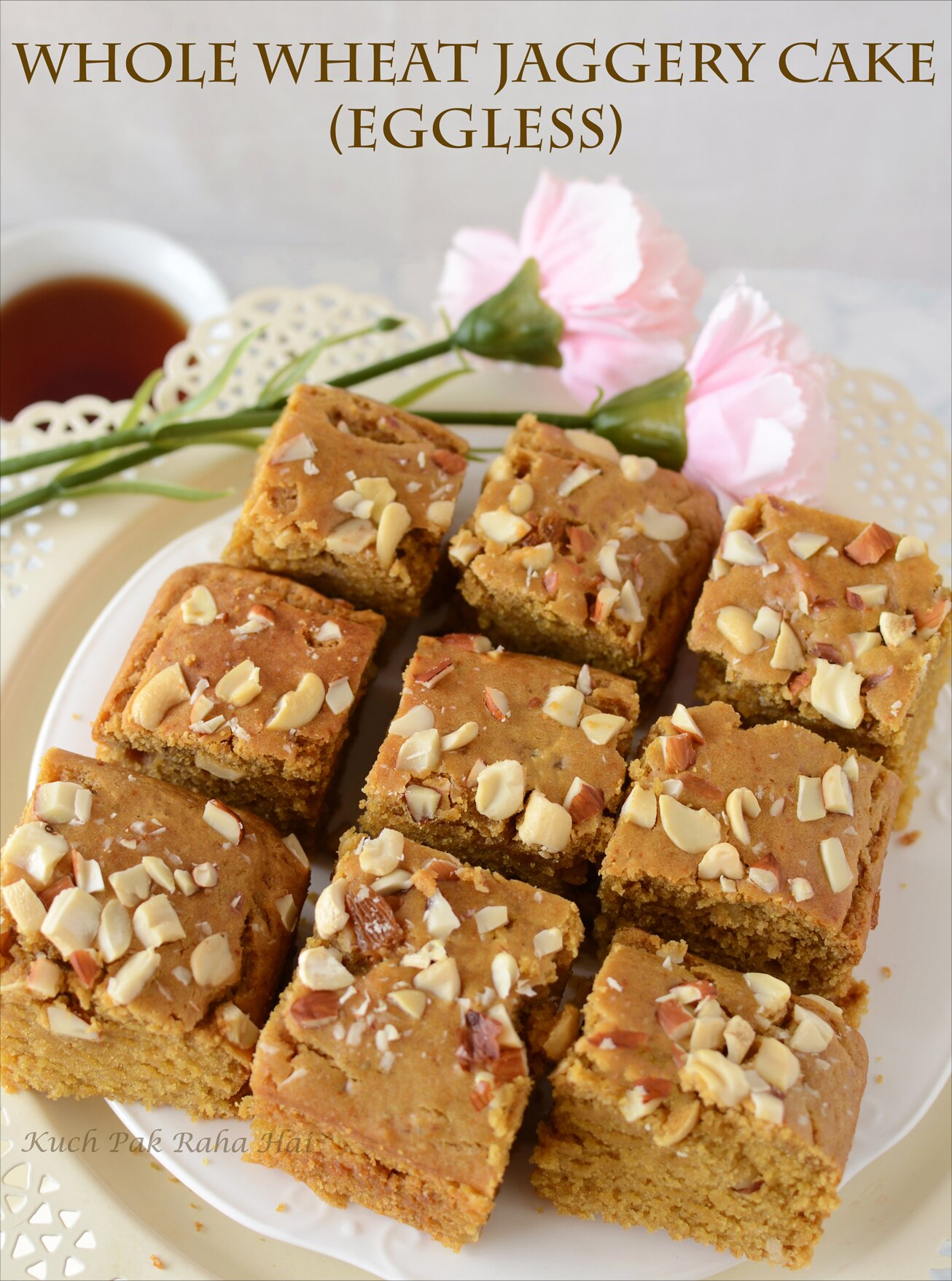 Eggless Whole Wheat Jaggery Cake Recipe