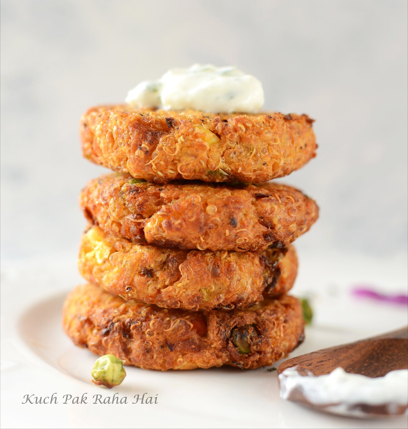 Crispy Quinoa Patties with Yoghurt Dip
