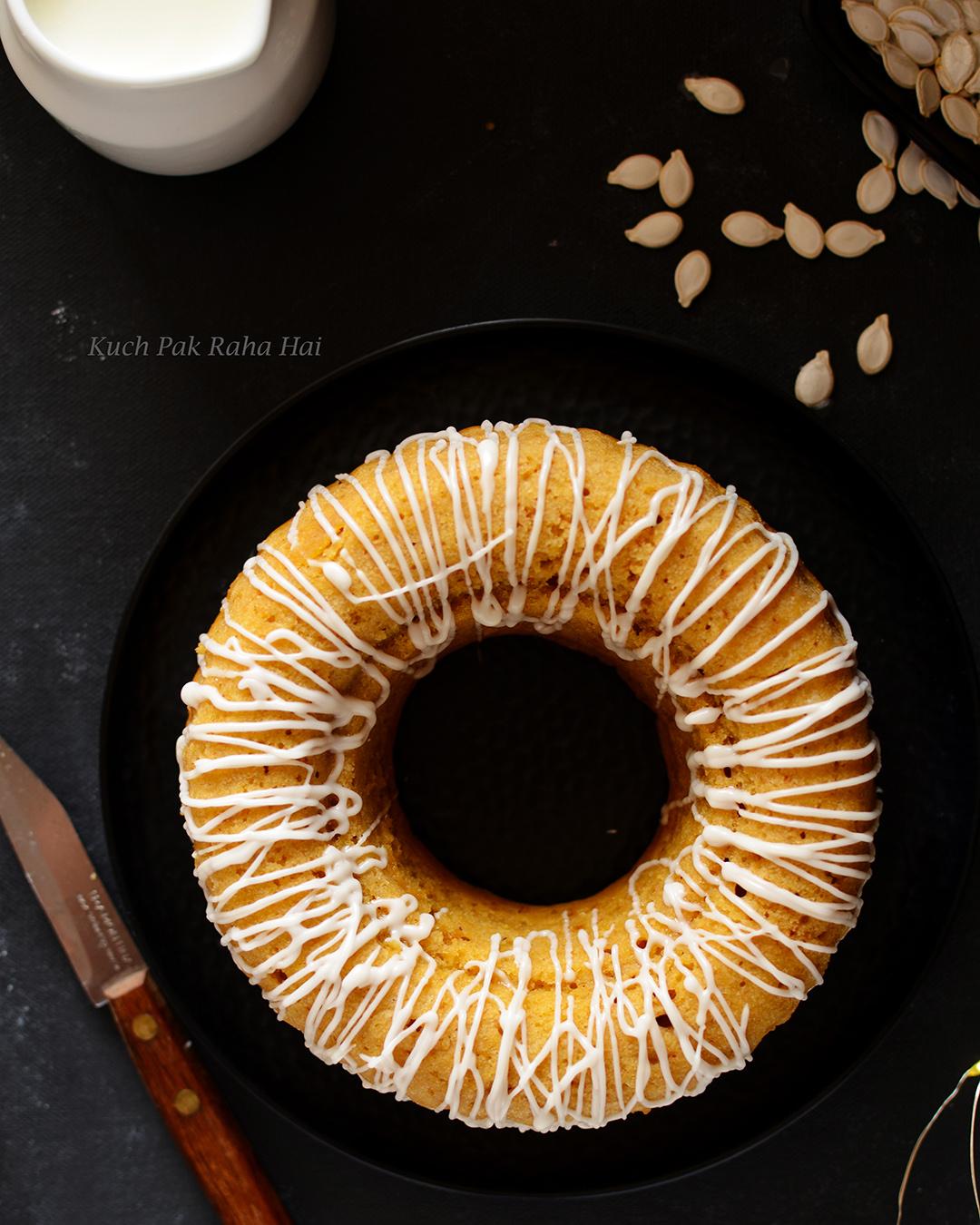 Eggless Pumpkin Cake easy recipe using pumpkin puree