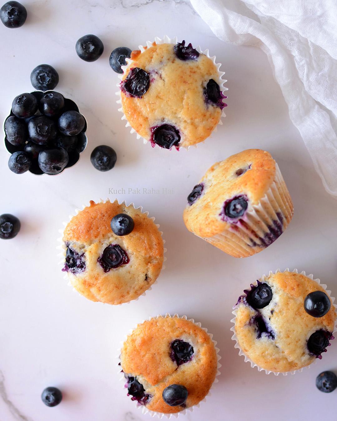 Eggless Lemon Blueberry Muffins Recipe