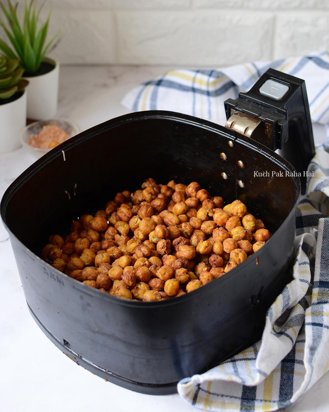 Crispy chickpeas made in air fryer healthy snack recipe