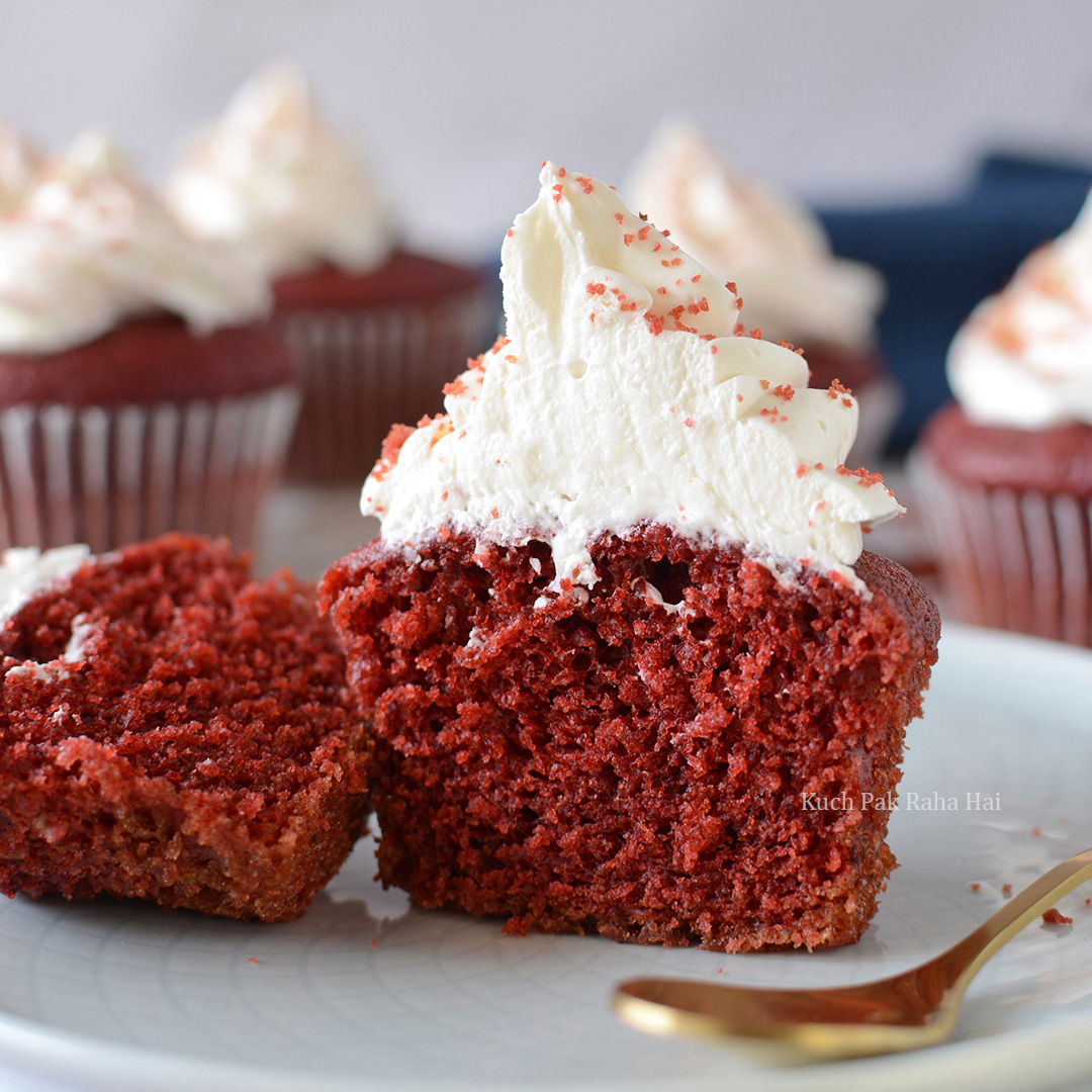 Easy Eggless Red Velvet Cupcakes Recipe with Cream Cheese Frosting