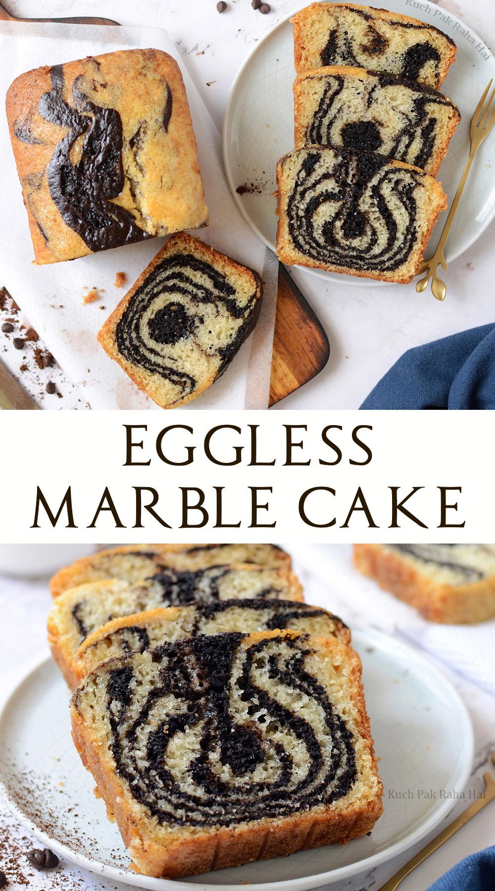 Eggless Marble Cake Zebra Cake with chocolate vanilla