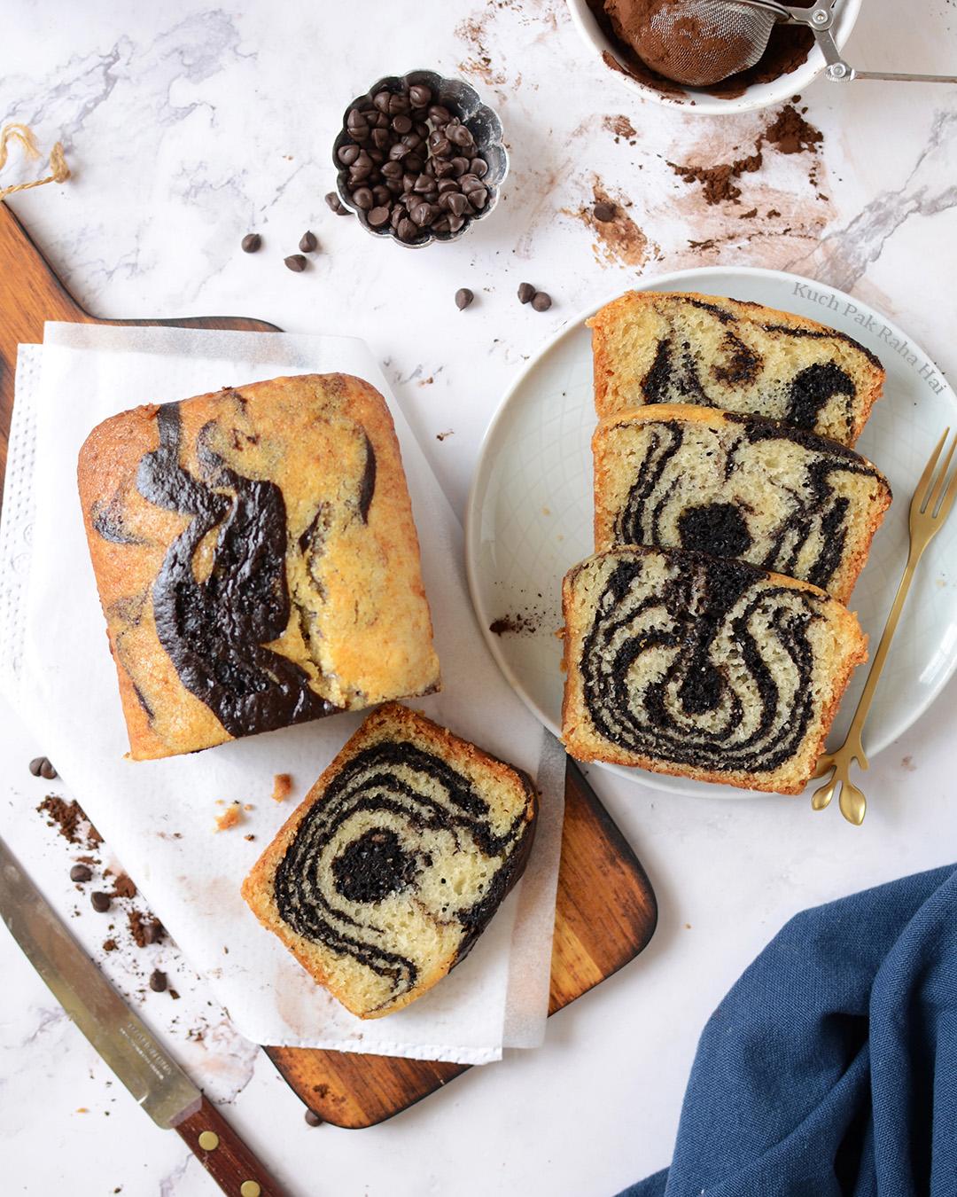Eggless Marble Cake Zebra Cake Recipe