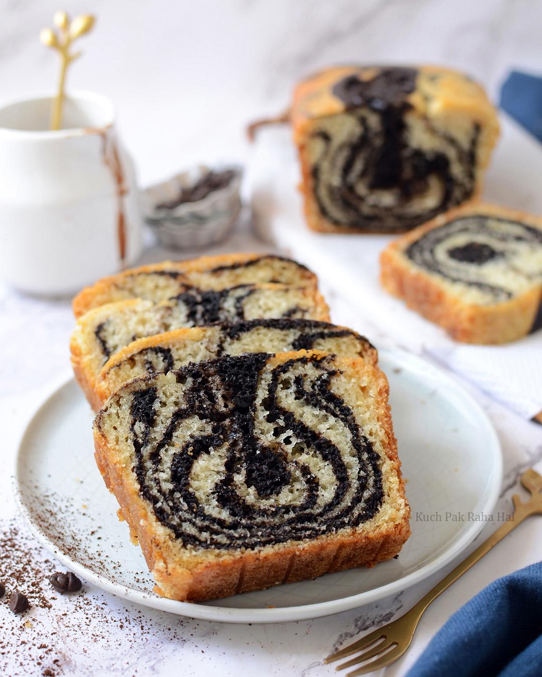 Eggless Chocolate Marble Cake or Zebra Cake Recipe