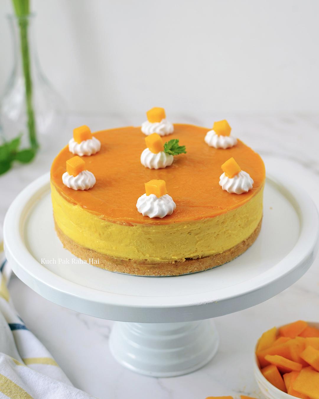 Eggless Mango Cheesecake without gelatin