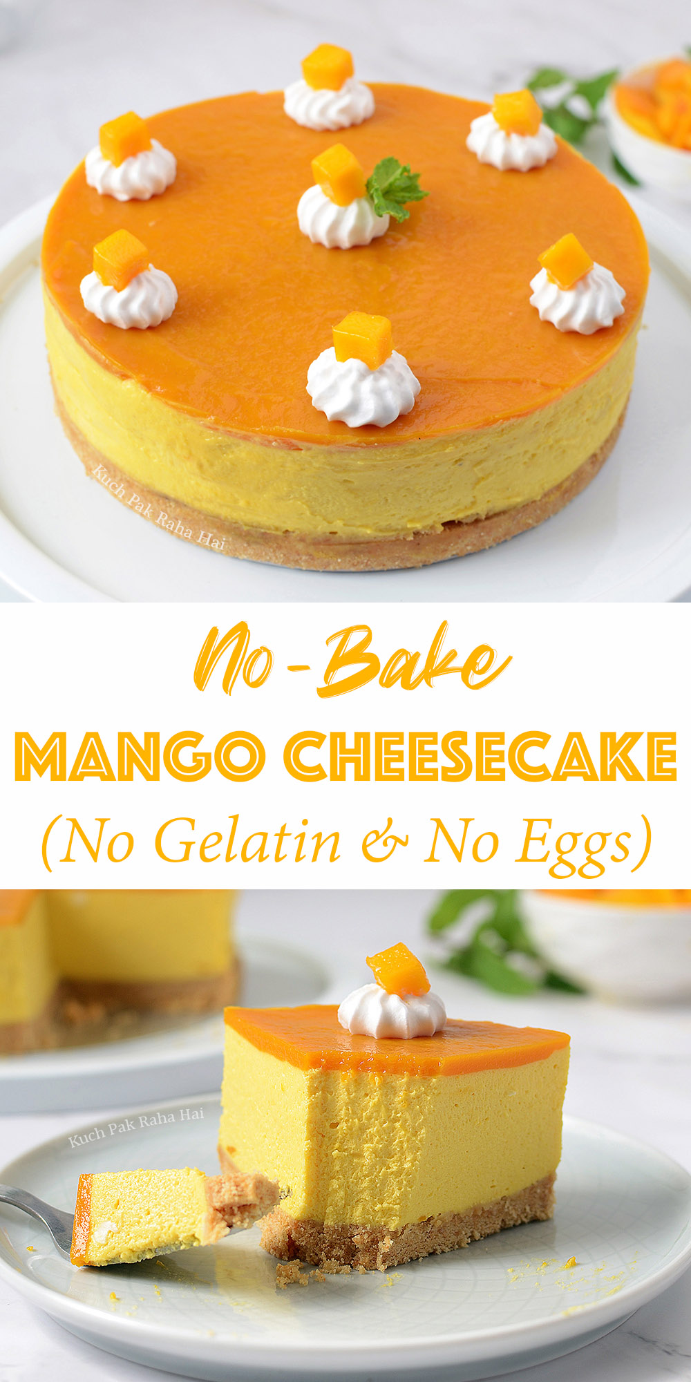 No Bake Mango Cheesecake without gelatin